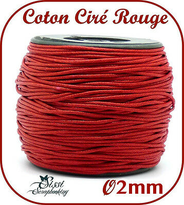 LOT 5 MÈTRE FIL DE COTON CIRÉ LARGE ROUGE BIJOUX PERLE CORDON SCRAP CARTE 2mm