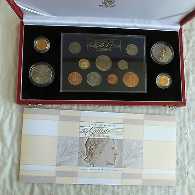 QEII THE GILLICK PORTRAIT COLLECTION WITH 1957 & 1968 GOLD SOVEREIGN - boxed/coa