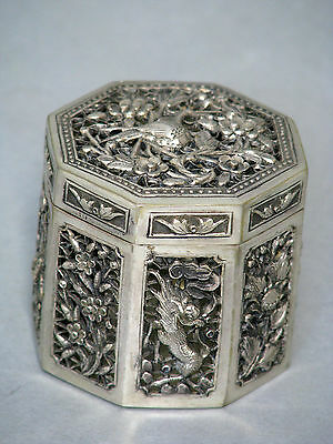 China Japan Alte Export Massiv Silber Dose Old Chinese Japanese Silver Box