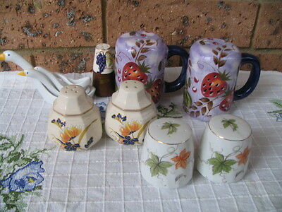 Vintage Japanese Hand-painted porcelain salt and pepper shakers