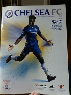 Chelsea V Oxford United Tuesday 8Th November 2016 Checkatrade Trophy Group Match