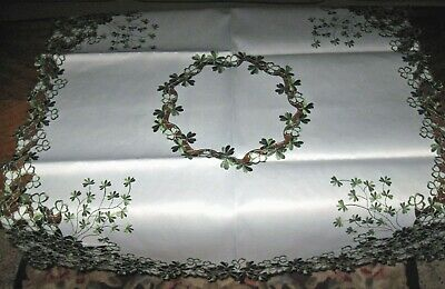 St Patrick's Day Celtic Irish Lacy Shamrock Embroidered Tablecloth Topper 34x34