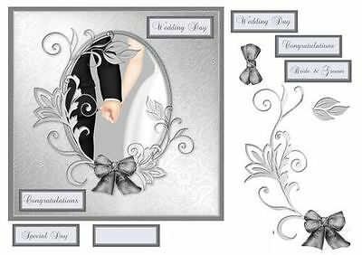 Wedding Day card with cameo frame and decoupage by Julie Hassall