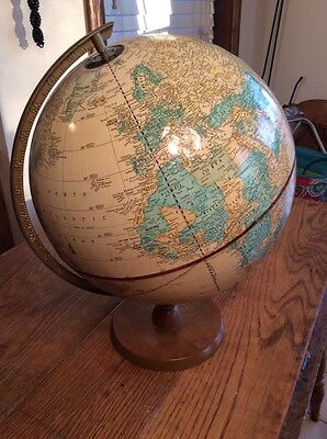 """Vintage Cram's Imperial World Globe 1980's USSR 12"""" Solid Wood Stand"""