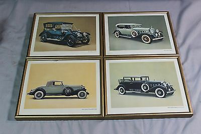 Lot of 4 Framed Pictures of Vintage Cadillacs (O)