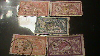 5 Timbres  France Obliteres  Allegorie Type Merson 1900 A 1927