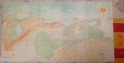 Shell Corporation Double Sided Fold Out Topography Map of Venezuela -- 1950's ?