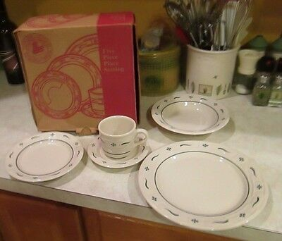 Longaberger pottery Heritage Green WT woven traditions 5 piece place setting