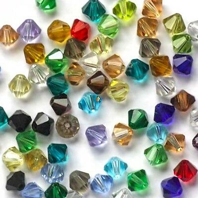 100pcs FACETED CRYSTAL GLASS BICONE 4MM LOOSE SPACER BEADS Assortment Colours