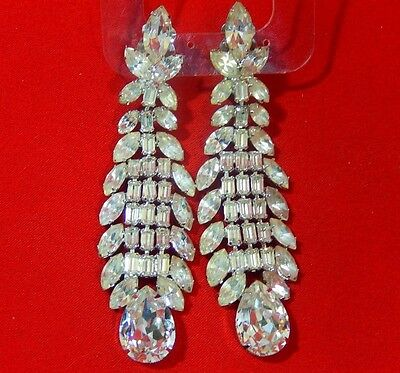 "Magnificent Signed Weiss White Rhinestone Runway  3 1/2"" Chandelier Earrings"