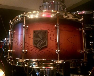 "SJC Custom Drums 14x7"" Trail Burst Maple Snare Brass Hardware Trick Throw"