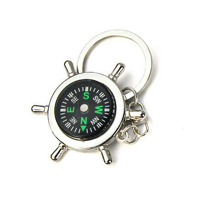 Newest Portable Alloy Silver Nautical Compass Helm Keychain Ring Chain Hotsale