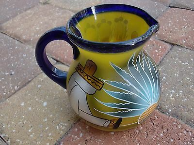 """VTG Made in MEXICO ART GLASS HANDCRAFTED Pitcher Jug w/lip 5.5""""Tx6""""W  VERY RARE!"""