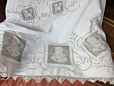 RARE Antique Figural French Rose Filet Lace Linen Tablecloth~Lucian Bonaparte