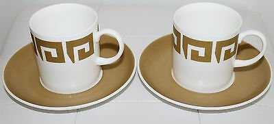 Set of 2 Susie Cooper Keystone Old Gold Pattern cups and saucers