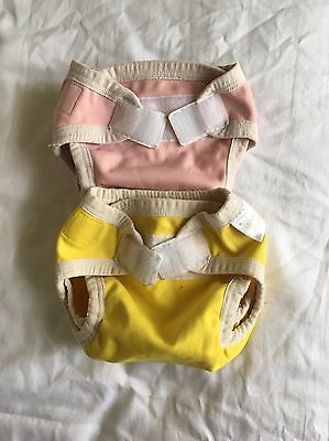 BUBBLEBUBS 2 Small PUL Velcro Nappy Covers GUC