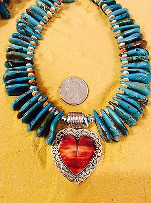 Southwest Necklace w/ Teardrop Turquoise & Grande Sterling Coral Heart Pedant