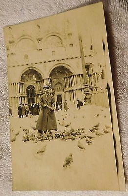 Vintage antique victorian dress woman feeding pigeons real photo postcard,Italy