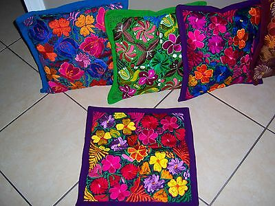 Mexican Satin Embroidered Purple Grape Zipper Pillow Cover - New-Gorgeous