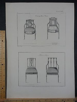 Rare Antique Original VTG Period Ornate Drawing Room Chairs Engraving Art Print