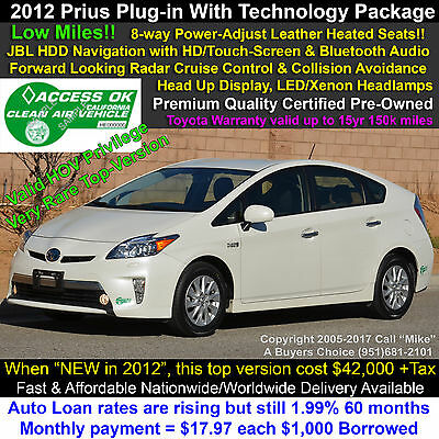 2012 Toyota Prius Plug-in Advanced Hybrid with Technology Package Radar Cruise, 8-way Power Leather Seat(s), Navigation, Bluetooth, Full-Warranty!