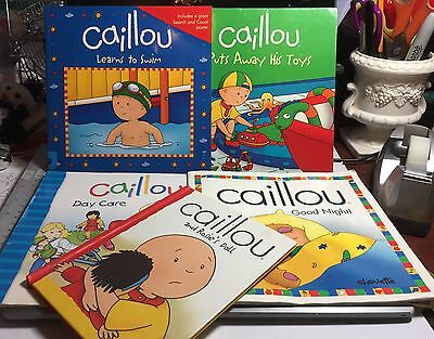 Caillou Book Lot TV Show Boy 6 Books Day Care Puts Away Toys Swim Cinar Chouette