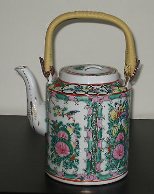 Vintage Hand Painted Chinese Porcelain Famille Rose medallion Teapot _Marked