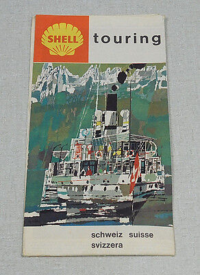 1960's Shell touring Switzerland gas station map