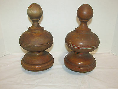 Lot of 2 Large Antique Stair/Newel Post Finials Solid Cherry LQQK!
