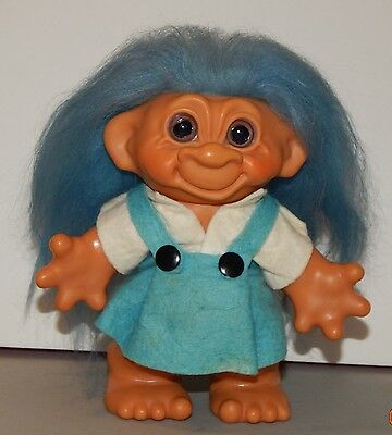 """1960s Dam Troll Doll 7"""" Girl Bank Original Felt outfit and hair and eyes   W2490"""