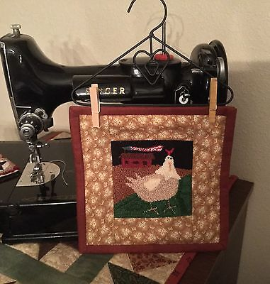"""Primitive Punch Needle ~""""Primitive Rooster""""~  Folk Art Wallhanging~Table Topper"""