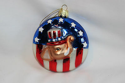 Elephant Republican Party Blown Glass Ornament Red White Blue Flag Politics NEW