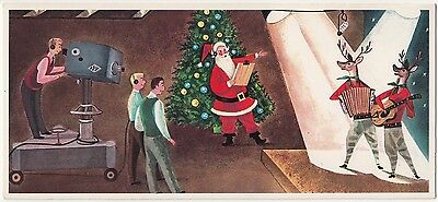 UNUSED Vintage Greeting Card Christmas Mid-Century TV Studio Filming Reindeer