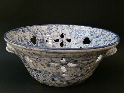 Signed Pottery Colander Strainer Hearts Blue Speckled Splatter with Handles 10""