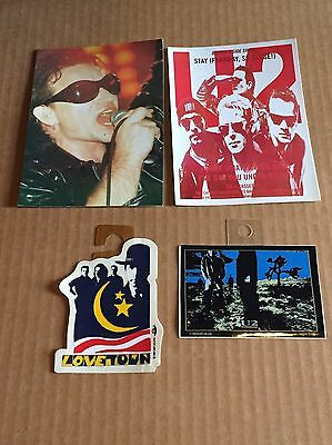 Vintage Rare U2 (2) 4X6 Post Cards (2) 2X4 Stickers Total LOT of (4) UK MINT