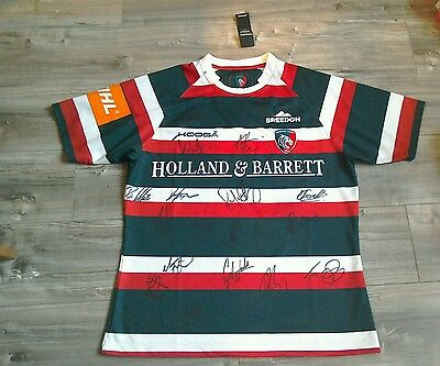 This Season's NEW Signed Leicester Tigers Rugby Shirt. Adults XL.
