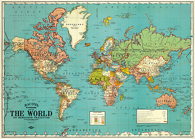 Cavallini World Map (Blue) Flat Wrap