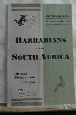 1952 BARBARIANS V SOUTH AFRICA rugby union programme
