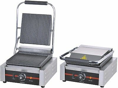 Single Commercial Panini Machine Contact Grill Toaster Sandwich Maker 1.8kW