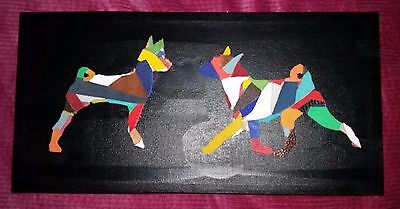 FUNKY BASENJI MOVING & STACKED LEATHER ON CANVAS PICTURE 28cm x 20cm