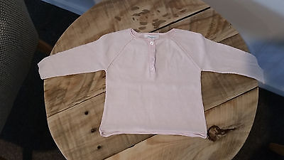 Baby Girl COUNTRY ROAD Pale Pink Long Sleeve Fine Henley Knit Jumper Top 00 3-6M