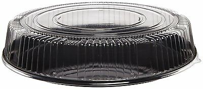 CheckMate Plastic Round Catering Tray and Dome Lid Combo, Clear/Black, 18-Inch