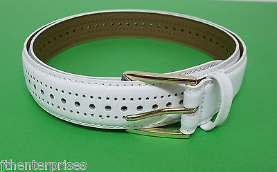 """Lawn Bowls Porthole White Belt  Leather Sizes 32"""" to 60 """" Stitched all around"""