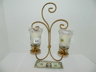 Home Interior Dual Gold Rope Wall Sconce / Candle Holder