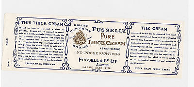 Fussell`s, Golden Butterfly, Thick Cream, Original Vintage Label No 631