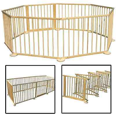 LARGE Baby Wood Playpen Child Foldable Kids Room Divider Safety Fire Guard  Gate