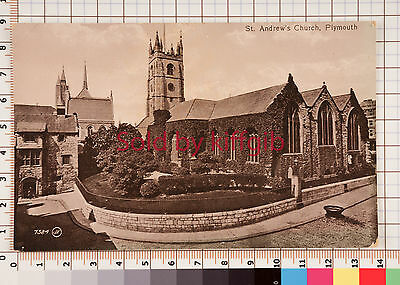 St Andrew's Church, Plymouth vintage postcard Valentines series