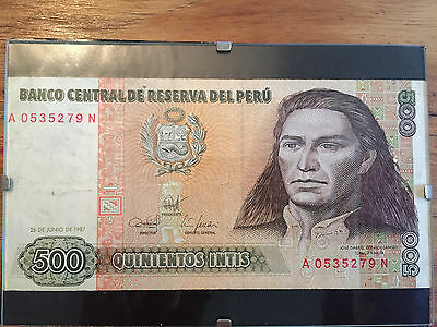 Banknote Peru 500 intis 1987 - good condition in clip frame