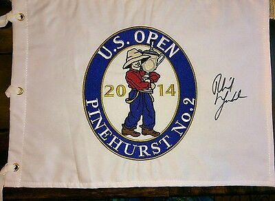 2014 US Open signed flag Phil Mickelson