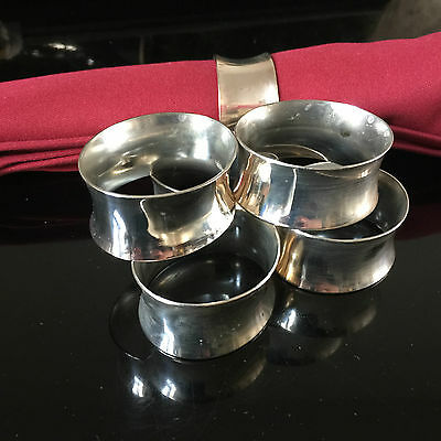 Set Of Six Vintage Silver Plate Napkin Rings. In Good Condition.